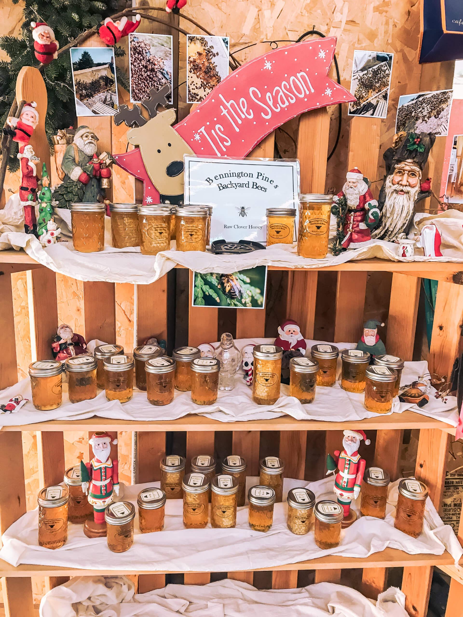 Clover honey display at Bennington Pines